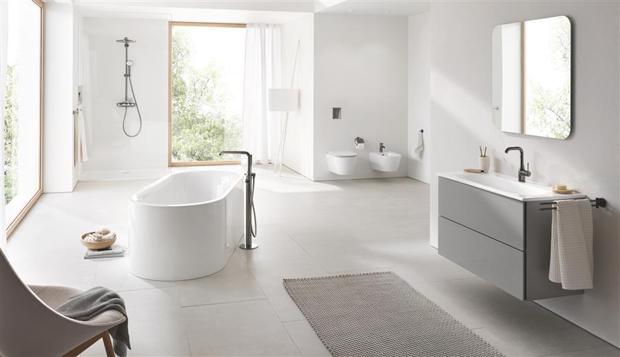 Farvel til stramme linjer. Nå skal baderommet være et avslappende tilfluktssted med myke former, naturlige materialer og friske farger.